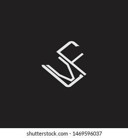 VF Initial Logo letters with rotate squere template