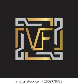 VF Letter logo initial capital monogram with abstract ornament