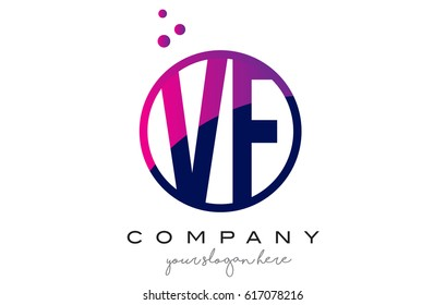 VF V F Circle Letter Logo Design with Purple Magenta Dots Bubbles Vector Illustration
