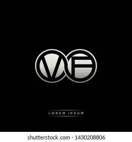 VF V F initial letter linked circle capital monogram logo modern template silver color edition