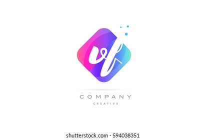 vf v f  pink blue rhombus abstract 3d alphabet company letter text logo hand writting written design vector icon template