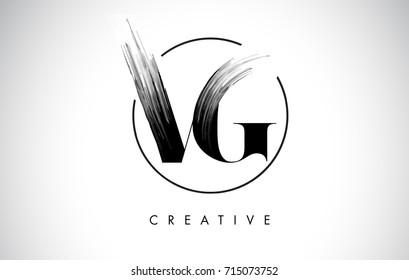 VG Brush Stroke Letter Logo Design. Black Paint Logo Leters Icon with Elegant Circle Vector Design.
