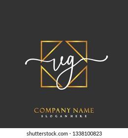 VG Initial Handwriting logo template vector