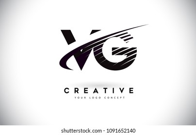 VG V G Letter Logo Design with Swoosh and Black Lines. Modern Creative zebra lines Letters Vector Logo