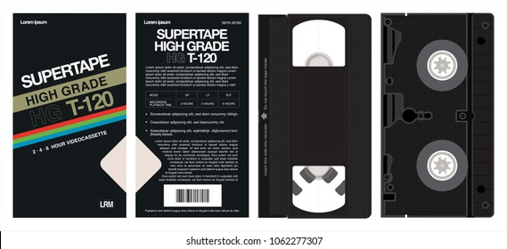 VHS tape and box vector