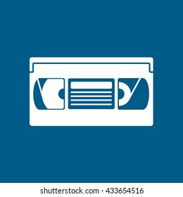 VHS Tape Flat Icon On Blue Background