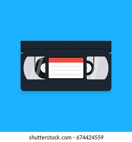 VHS video cassette tape isolated on blue background. Vector illustration in flat design style