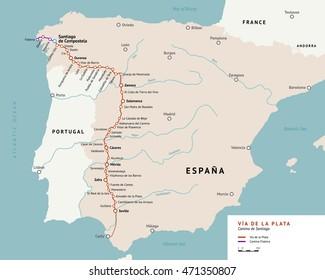 Via de la Plata map. The Silver route. Camino De Santiago or The Way of St.James in Spain. Ancient pilgrimage path from south of Spain to the Santiago de Compostella.