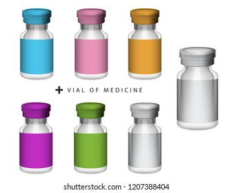 Vial of medicine, glass bottle and aluminium filp off cap in different colors vector isolated on white background