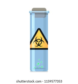 Vial with virus. Biohazard sticker on glass vial with contagious disease. Stock vector illustration.