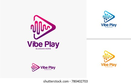 Vibe Play logo designs concept, Music Vibe logo template vector