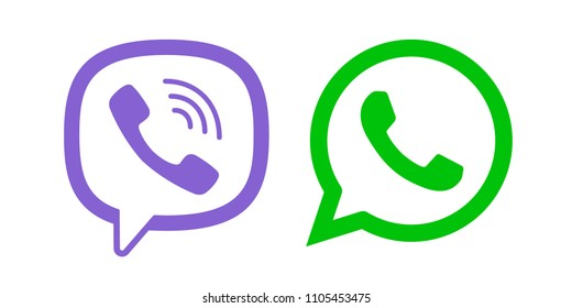 Viber, Whatsapp messenger logo line icon color. Vector illustration. EPS 10