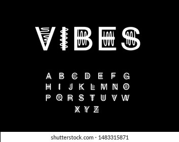 Vibes hand drawn vector illustration in cartoon style font. Sound effect minimalism constrast black white