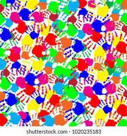 Vibrant abstract colorful slapped background with multicolored human's handprints on white backdrop. Vector festive fingerprint square template, poster, banner, mockup for design.