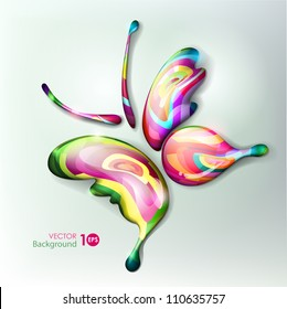 Vibrant beautiful abstract butterfly. Multicolored drops. Vector eps 10.