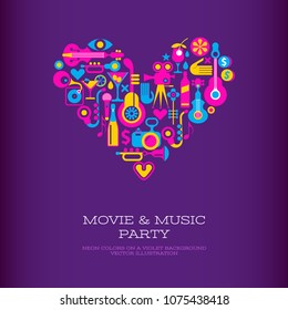 Vibrant colors on a dark violet background Movie & Music Party vector poster template. Heart shape design.