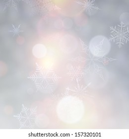 Vibrant defocused background. Bright bokeh with snowflakes. Vector illustration.
