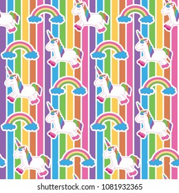Vibrant edgy rainbow unicorn. A playful, modern, and flexible pattern for brand who has cute and fun style. Repeated pattern. Happy, bright, and magical mood.