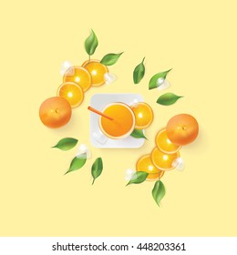 Vibrant, fresh orange juice and fruit slices setting isolated on light yellow background in top view perspective, decorated with green leaves and ice cubes