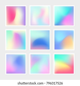 Vibrant gradient banner pack of vector hologram texture collection. Bright colorful backdrop of texture background for creative web design, graphics, presentation, prints, book cover, fashion elements