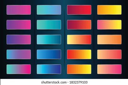 Vibrant Gradient Pack. Striking Gradient Colors. Pink Purple Blue Green Orange Violate Yellow Gradient Swatch and Color Palette. Soft Colors for Web App Illustration Design