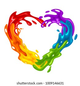 Vibrant heart-shaped splash in LGBT Colors