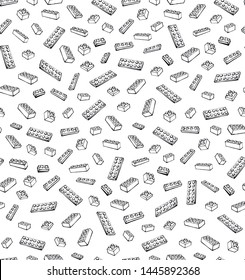 Vibrant meccano puzzle kit set on light white paper backdrop. Freehand line dark black color ink hand drawn design object logo emblem pictogram in modern art scribble comic style. Wrapping wallpaper
