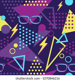 Vibrant Memphis Style Throwback Glasses and Lightening Bolts Seamless Pattern
