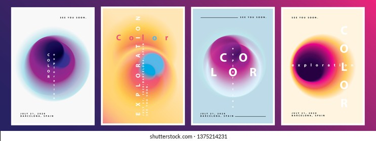 Vibrant Minimal Poster Layout Collection with Abstract Blurred Gradient Circles