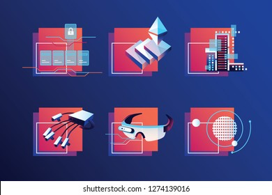 Vibrant modern smart technology icon set depicting virtual reality and cryptocurrency subjects