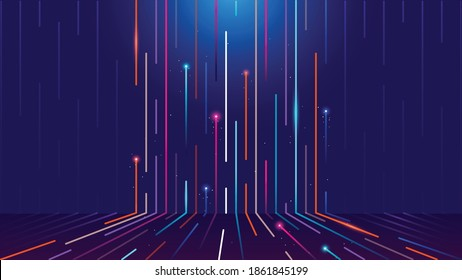 Vibrant moving line in 3rd dimension musical journey to the core colorful lines traveling in space orbit teleport design