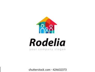 Vibrant multicolored real estate logo design