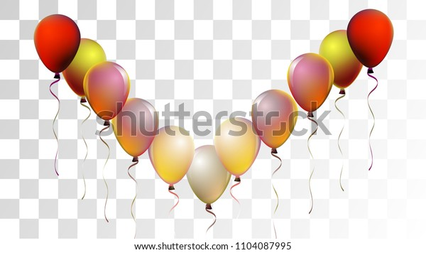 Vibrant Realistic Helium Vector Balloons Falling. Happy Birthday, New Year Party Background. Neon Modern Holidays Decoration, Air Helium Balloons. Celebration, Music Poster, Discount Card Design.