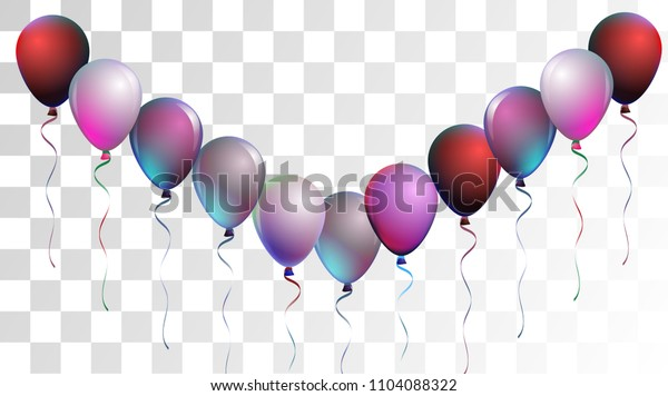 Vibrant Realistic Helium Vector Balloons Falling. Happy Birthday, New Year Party Confetti. Funky Hipster Holidays Background, Air Helium Balloons. Celebration, Music Poster, Discount Card Cool Decor