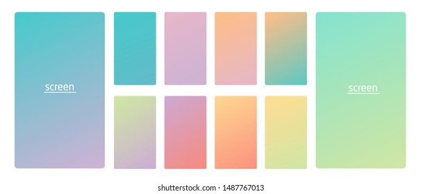 Vibrant and soft pastel gradient smooth color background set for devices, pc and modern smartphone screen soft pastel color backgrounds vector ux and ui design illustration.