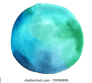 Vibrant teal blue abstract watercolour background texture on white. Scalable vector graphic