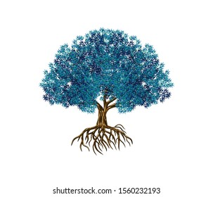 Vibrant tree logo design, blue leaves vector illustration