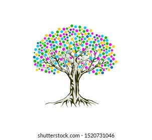 vibrant tree logo illustration with rainbow leaves color