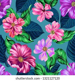 Vibrant vector floral pattern. Classic style of textile and print illustration. Large blossoming flowers. Seamless plants design.