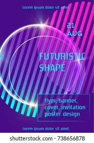 Vibrant vector template with abstract geometric shapes, trendy elements, neon shining effect. Used as cover, event flyer, club party invitation, web banner, music fest poster