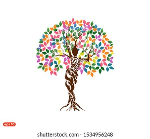 vibrant Woman Tree logo Vector isolated with rainbow and colorful leaves, dryad tree, mythology, goddess logo.