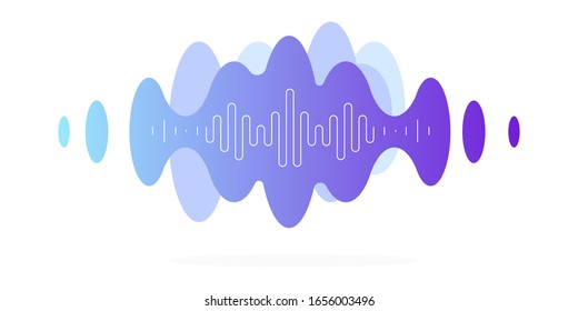 Vibrations, audio message, blue cloud with a white thin frequency line. Modern minimalistic illustration, vector file.