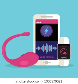 vibrator sex toy with the app to control vibrations, smartphone and smartwatch.