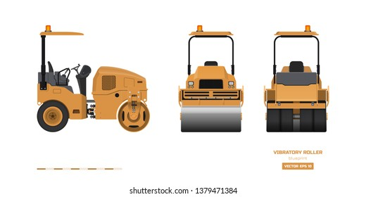 Vibratory roller in realistic style. Side, back and front view. Building machinery 3d image. Industrial isolated drawing of orange asphalt compactor. Diesel vehicle blueprint. Vector illustration