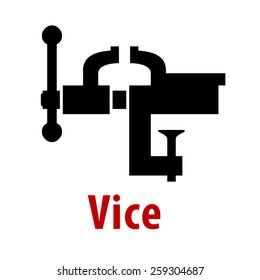 Vice tool icon with text  isolated on white background for repair or construction design