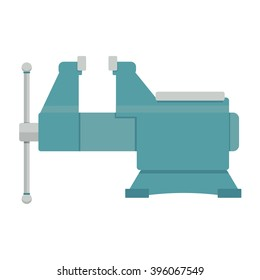 vice vector illustration. steel vise tool on white background.