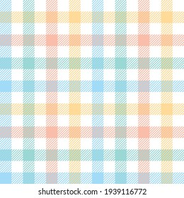 Vichy pattern for picnic blanket design. Pastel multicolored tartan check plaid graphic for tablecloth, oilcloth, other modern everyday spring summer fashion Easter holiday textile or paper print.