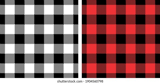 Vichy patterns in black, red, white. Textured gingham backgrounds for picnic tablecloth, dress, skirt, gift wrapping paper, napkins, or other modern spring summer autumn winter textile print.
