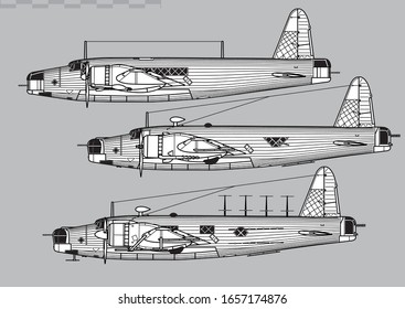 Vickers Wellington. World War 2 bomber. Side view. Image for illustration.