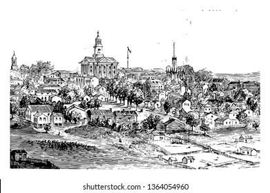 Vicksburg during the American civil war 1863 at wareen county, Mississippi, US vintage line drawing.